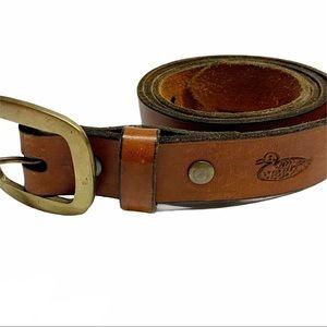 Vintage brown duck pattern stamped leather belt M